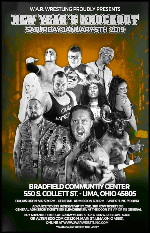 """W.A.R. Wrestling Presents """"New Year's Knockout"""" @ Bradfield Commnity 